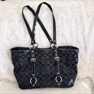 Authentic Black Coach Tote w/Patent Leather Trim